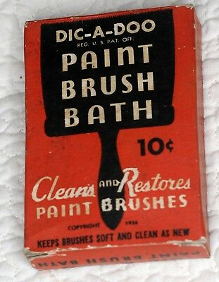 DIC-A-DOO Paint Brush Bath Package. 1936 PATENT CEREALS CO Geneva NY - New York