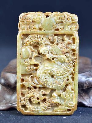Vintage Old Jade Carving Dragon Statue Pendant Netsuke Japanese Collection
