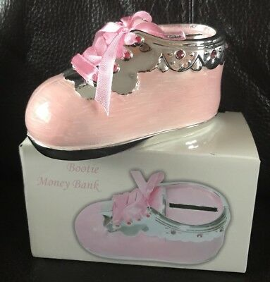 New Silver Plated Pink Baby Bootie Money Box For Girl