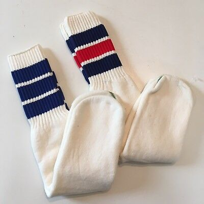 NEW Vtg 70s 80s Over the Calf Tube Socks Blue Red Striped Athletic Derby