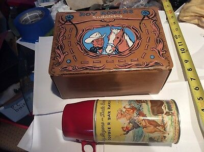 Vintage ROY ROGERS SADDLEBAG Lunchbox & Thermos (1960)