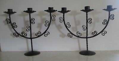 2 Vintage Rustic Wrought Iron Twisted Wire Candelabras Holds 3 Candles Each