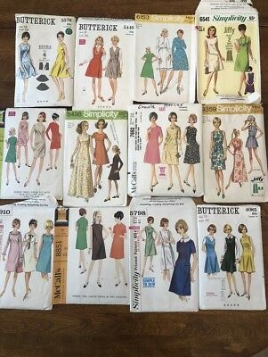 Lot Of 12 Vintage 1960's Dress Sewing Patterns