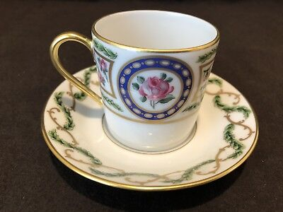 Haviland Limoges Louveciennes Demitasse Cup and Saucer Set Excellent!