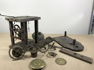 Job Lot of Vintage Clock Parts . Cogs, Wheels, Bell, Face & Wooden Bits etc..
