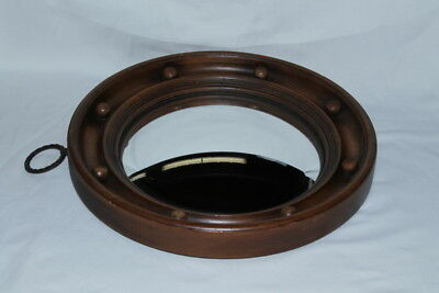 """nice 13""""  antique ROUND CONVEX FRENCH? WALL MIRROR Wood frame & back oak"""