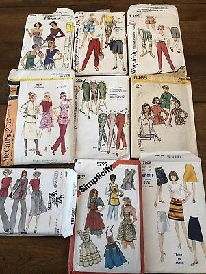 Lot Of 9 Vintage Sewing Patterns