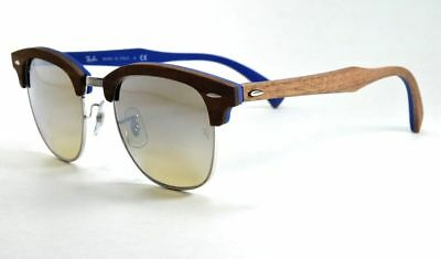 1cee34084d9 Ray Ban Clubmaster RB3016M 1217 9U Silver Wood Frame Silver Flash Mirror  Lens 51