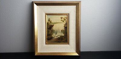 Vintage Oil on Board Framed Painting of a Waterfall American Landscape