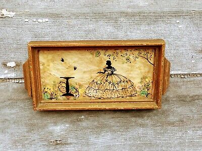 Vintage Milkweed Silhouette Picture / Mini tray Victorian Lady with Birds