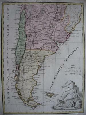 1812  LAPIE - Map CHILE ARGENTINA PATAGONIA LAND OF FIRE PLATA URUGUAY PARAGUAY