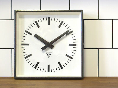 battery operated Pragotron wall clock - grey metal square - industrial, vintage