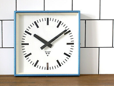 battery operated Pragotron wall clock - blue metal square - industrial, vintage