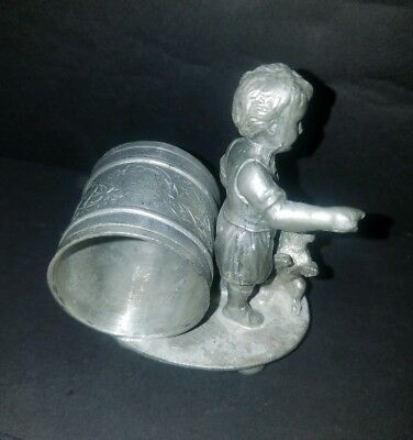 James Tufts Victorian Figural Silverplated Napkin Ring A Boy And Dog No Reserve