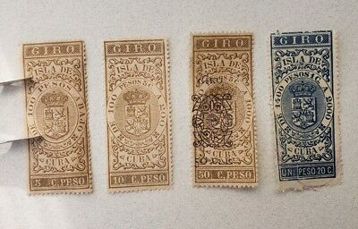 early Cuba revenue/tax stamp (lot of 4) -  M & used - please see photos