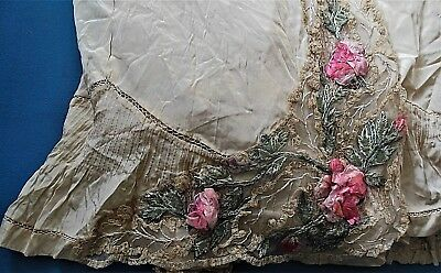 Antique Victorian French Silk Ombre Passamentarie Ribbon Lace Trim Skirt