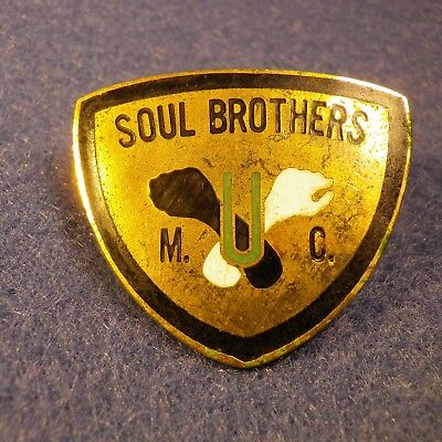 Vtg. Soul Brothers MC Enamel Pin Gold Plated Motorcycle Club