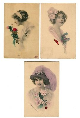3 Antique Signed Art Nouveau Schlesinger Bros. NY Beautiful Woman Lady Postcards