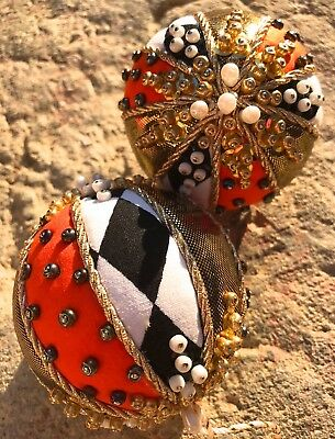 Unique Handmade One-Of-A-Kind Christmas Halloween Beaded 2 Pc  Ornaments Balls