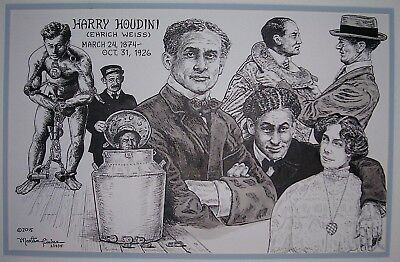 HOUDINI: original pen & ink drawing by Timins (see my movie-star prints on eBay)