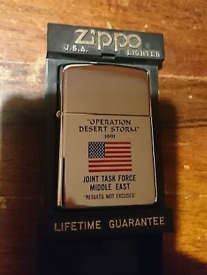 """ZIPPO Anno 1991 """"Operation Desert Storm"""" """" Results not excuses"""" - Introvabile"""
