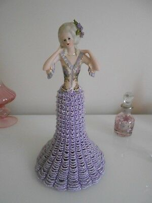 ~Porcelain Half Doll With  Beaded Shirt ~ Lavender~