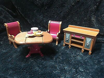 Playskool Dollhouse Furniture Kitchen Dining Room Table Chairs