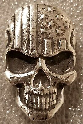 2 oz .999 Fine Solid Silver 3D Art-Bar MK BarZ Hand Poured Stars & Stripes Skull