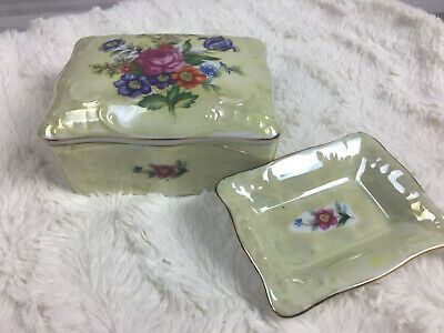 Gift Craft Antique Hand painted Trinket Dish In Box With Marking