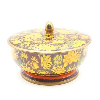 Vintage Round Damer Covered Collectible Decritive Storage Tin Made In England