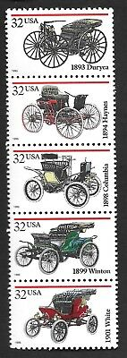1995 Mint (1 HINGED) Strip of 5 Sc# 3019-23 (BELOW FACE) 32-cent Antique Cars