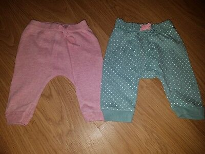 Baby Girls George/Tu 2 x Jogging trousers....pink green....0-3 months