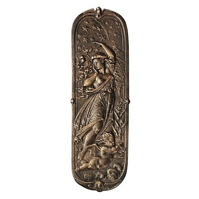 Victorian Night Maiden Cherub Stars Antique Iron Door Push Plate Home Decor