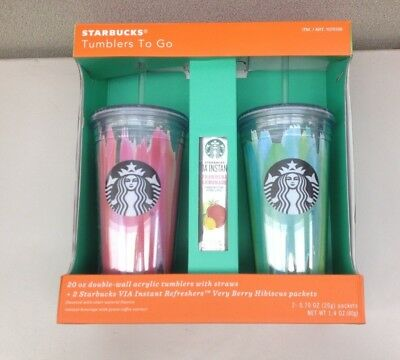 NEW Starbucks Tumblers 2 Pack 20 oz. Double-Wall Acrylic Cold Cup    O6411-L2