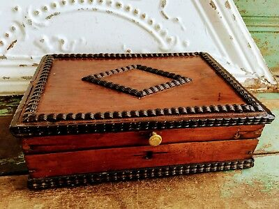 Antique Wood Wooden Tramp Art Box With Mirror Folk Art