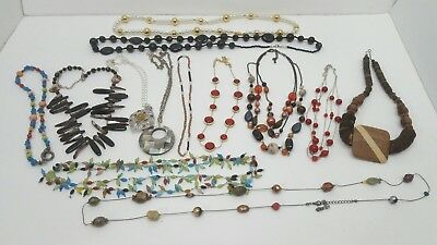 Lot of 13 Assorted Vintage to Modern Costume Jewelry Necklaces Chunky Long