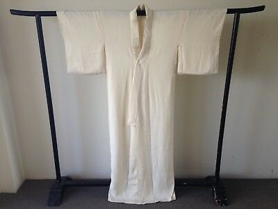Vintage Authentic Japanese Long Cream Silk Kimono Robe One of a Kind Hand Made