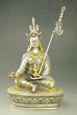 chinese old copper plating silver gild  sitting Buddha by Hand carved Statue