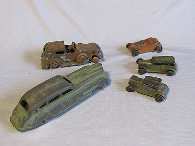 LOT of 5 VINTAGE METAL DIE CAST TOOTSIETOY CARS ~ SMALL & LARGE