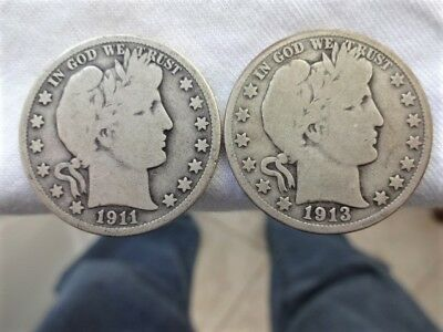 1911-D & 1913-D Natural Good+ Condition BARBER HALF DOLLARS