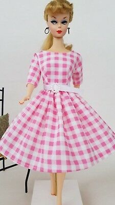 Handmade Vintage Barbie Doll Clothes by Brenda - Pink Gingham Checked Dress