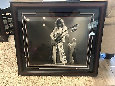 Led Zeppelin Jimmy Page Stage Picture Framed Vintage 1977 FT Worth Show RARE
