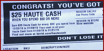 Haute Cash TORRID CODES $25 off $50 LIMITED TIME -  from 01/09/19  >  01/21/19