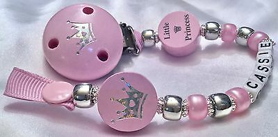 ♕ Personalised DUMMY CLIP - upto 10 Letters ♕ LITTLE PRINCESS ♕ Silver n Pink ♕