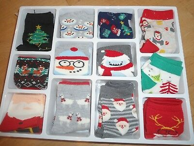 NEW TARGET 12 days of socks Set 12 pairs crew no show santa Shoes size S 5.5-8.5