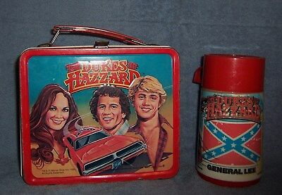 Vintage Dukes of Hazard Metal Lunch Box & Thermos ~ Nice Condition