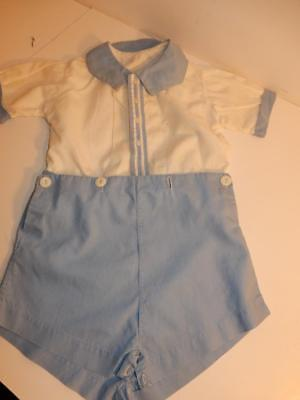 Vintage 1940S Royal Baby Boy Romper Blue Fancy Shorts Outfit / Composition Doll