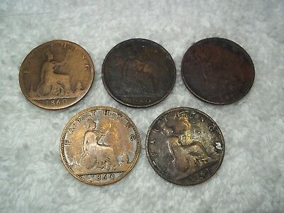 1860 - 1861 Great Britain Farthing LOT (5 coins) Old World Copper Coins #117