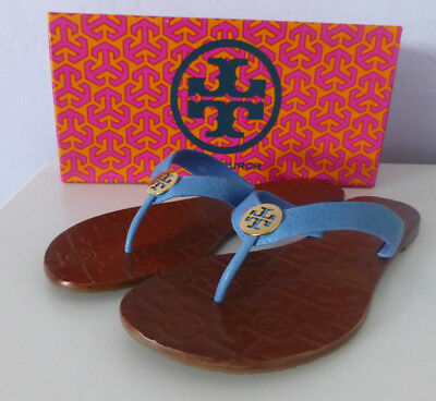 740532b927a TORY BURCH Thora Flip Flop Thong Sandals Chambray Blue Leather Gold Size 8  New