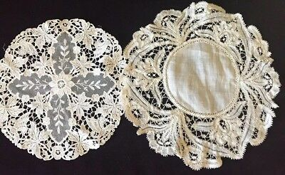 "2 Fine Ornate French Brussels Lace Hand Done Tape Lace Doilies Textiles 6"" 1800s"